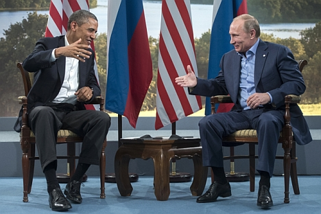 Russian President Vladimir Putin, right, and U.S. President Barack Obama during a meeting at the G8 summit in Northern Ireland. Source: RIA Novosti / Sergei Guneev
