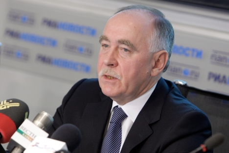 Viktor Ivaniov, director of Russia's drug control agency, speaking at the RIA Novosti news agency briefing on an unprecedented drug raid by Russian and U.S. special services. Source: RIA Novosti / Anton Denisov