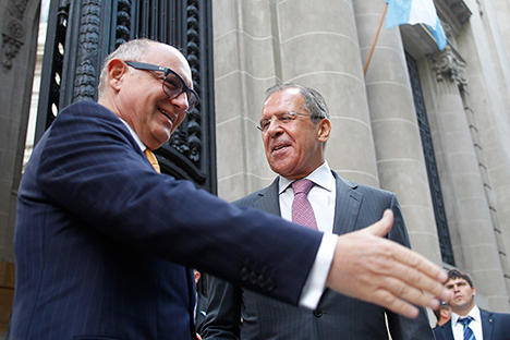 Russian Foreign Minister Sergei Lavrov (left) meeting with his Argentinian counterpart Héctor Timerman. Source: Reuters