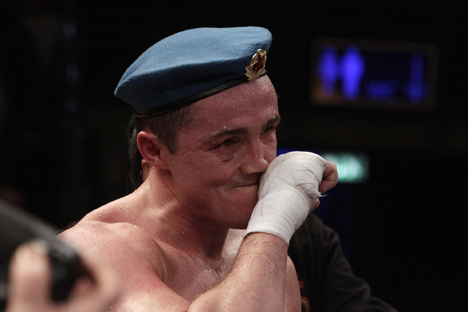 Denis Lebedev reacts after the WBO Cruiserweight championship fight against Marco Huck of Germany in Berlin. REUTERS