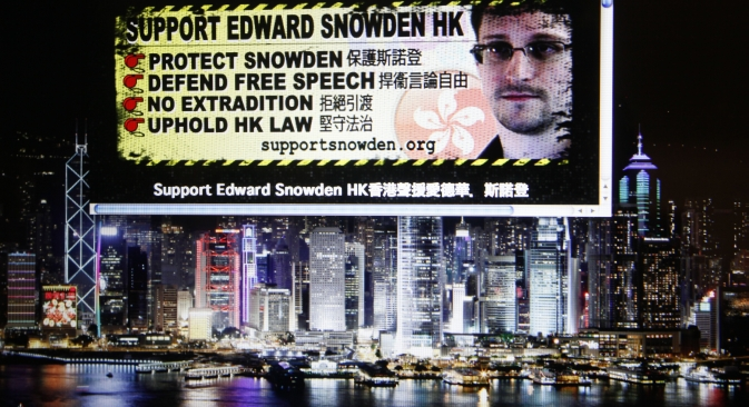 A website supporting Edward Snowden, former CIA employee who leaked top-secret documents about sweeping U.S. surveillance programs, are displayed on a computer screen in Hong Kong. Source: AP
