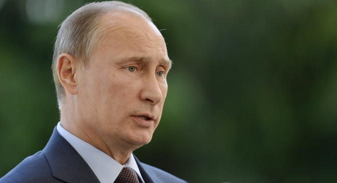"Vladimir Putin: ""He [Edward Snowden] is in the transit zone as a transit passenger and remains there still."" Source: AP"