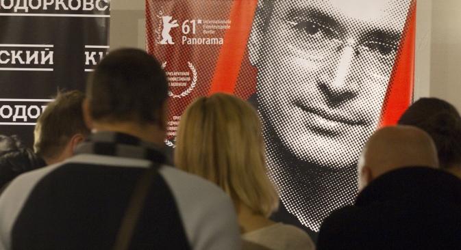 Público na exibição para imprensa do documentário Khodorkóvski, de Cyril Tuschi Foto: RIA Nóvosti/Vitáli Beloussov
