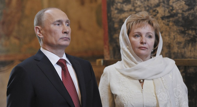 Vladimir Putin (L) and his wife Lyudmila at a service, conducted by Patriarch of Moscow and All Russia Kirill, to mark the start of his term as Russia's new president at the Kremlin on May 7, 2012. Source: Reuters / Aleksey Nikolsky / RIA Novosti