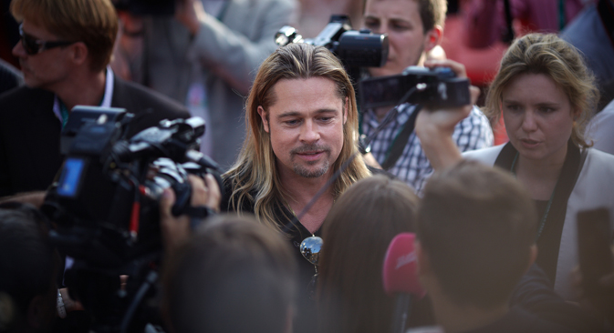Brad Pitt arrived in Moscow to promote his new film World War Z.Source: Elena Pochetova