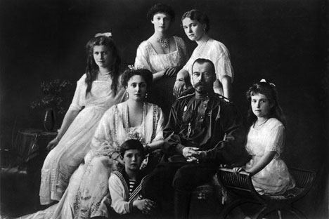 Nicolas II Romanov and his wife Alexandra with children (pictured L-R): Alexei, Maria, Tatiana, Olga, Anastasia.