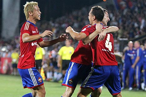 Japanese legionary of Moscow CSKA Honda got his goal in Super Cup match. Source: Victor Pogontsev / RG