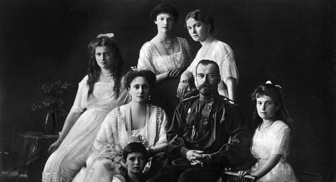 Nicolas II Romanov and his wife Alexandra with children (pictured L-R): Alexei, Maria, Tatiana, Olga, Anastasia.
