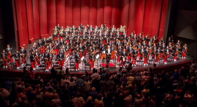 This year the NYO-USA's world debut took place at Purchase's Performing Arts Center on July 11 under Valery Gergiev's conduction. Source: Chris Lee/Press Photo