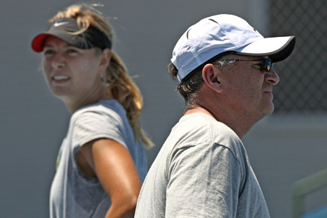 Maria Sharapova has chosen her father (R) as her new coach. Source: AFP / East News