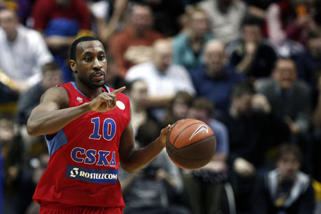 Holden playing for CSKA in Basketball Euroleague. Source: Imago/Legion Media