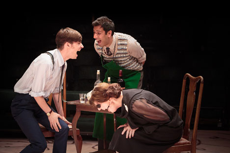 (l-r) Dyfan Dwyfor as Yegor Dimitrich Gloumov, Nitin Kundra as Styopka and Penelope Dimond as Glafira Klimovna Gloumova in TOO CLEVER BY HALF (Royal Exchange Theatre until 17 August). Source: Jonathan Keenan