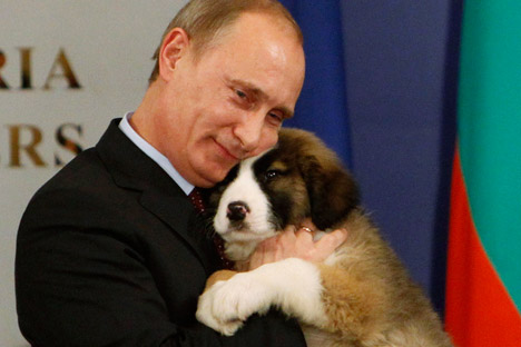 Vladimir Putin hugs a Bulgarian shepherd dog, a present from Bulgarian Prime Minister Boyko Borisov. Source: Reuters / Vostock Photo