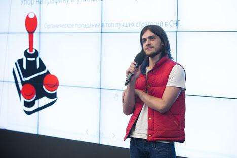 Lev Silaev, the developer of the game First Wood War. Source: Digital October