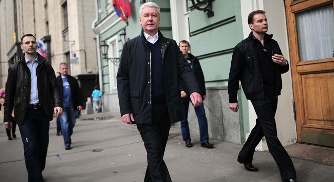 Sobyanin (center) was appointed mayor in 2010, in place of his long-serving predecessor, Yuri Luzhkov. Source: Photoshot / Vostock Photo