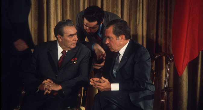 President Richard Nixon talks with Soviet leader Leonid Brezhnev June 20, 1973 at Camp David, MD. Brezhnev met with members of the U.S. Senate Foreign Relations Committee to sign an agreement to prevent nuclear war with the US. Source: Getty Images / Fotobank