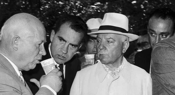Nikita Khrushchev and Vice President Richard Nixon in 1959 at the American National Exhibition in Moscow. Source: Getty Images/Fotobank