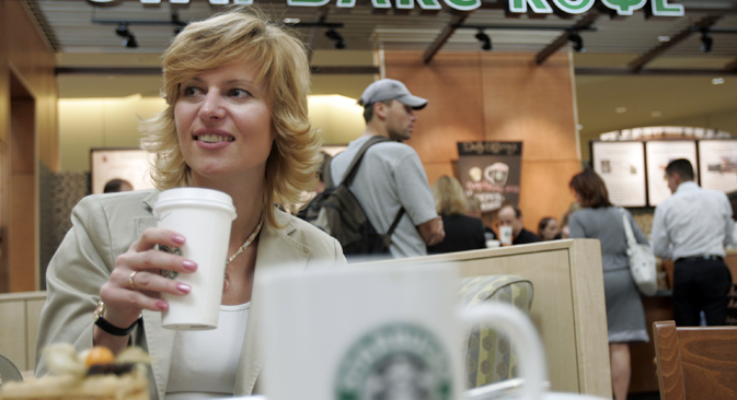 Starbucks is looking for ways to increase its share in the Russian café market. Source: Reuters