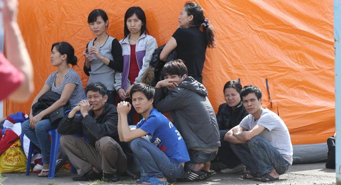 Entre los cientos de detenidos hay numerosos vietnamitas. Fuente: ITAR-TASS.