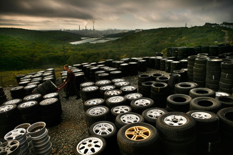 Tires at a car market in Vladivostok. Vladivostok. Source: Aaron Huey / National Geographic / Getty Images