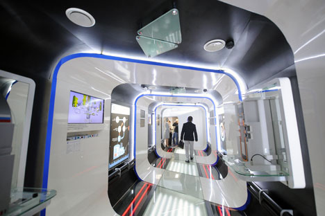A touring Rusnano exhibition inside a train, a joint project with Russian Railways.