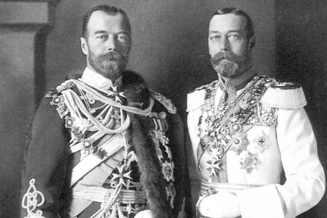 Family business: Tsar Nicholas II of Russia, left, and his cousin George V in Berlin, 1913.