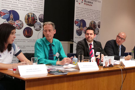 Pictured L-R: Claire Harvey (British Paralympian), Peter Tatchell (Peter Tatchell Foundation) discussing human rights in Russia during the Westminster Russia Forum. Source: Nikolai Gorshkov