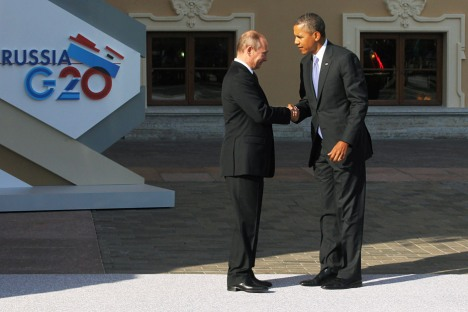 Russian President Vladimir Putin (L) and President of the United States Barack Obama during the official welcome of heads of delegations of G20 member states, invited countries, and international organizations. Source: Konstantin Zavrazhin / RG