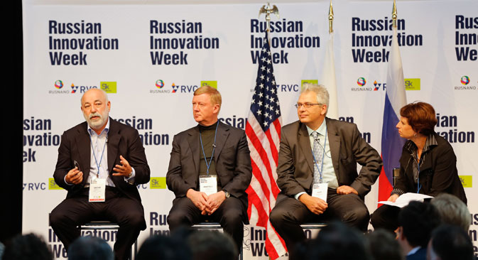 Pictured L-R: Victor Vekselberg, Skolkovo Foundation President, Anatoly Chubais, Chairman of the Board of LTD RUSNANO, Igor Agamirsyan, CEO of RBC, at Russian Innovation Week 2013 in Boston. Source: Greg M. Cooper
