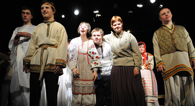 Actors with Down syndrome play in the Theatre of the Open-Hearted, based in Moscow. Source: PhotoXPress