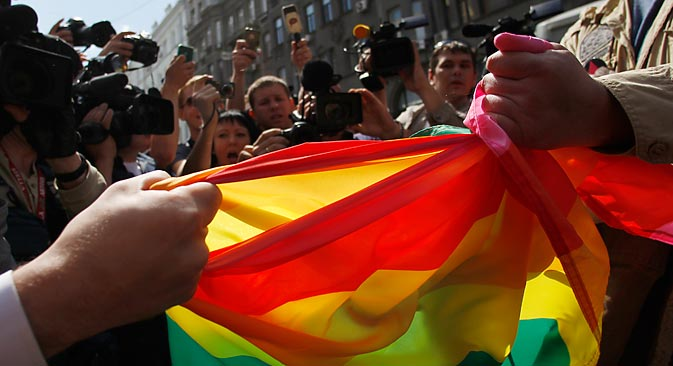 LGBT rallies and gay-pride marches have been banned by the Moscow City Hall for the last seven years. Source: Reuters