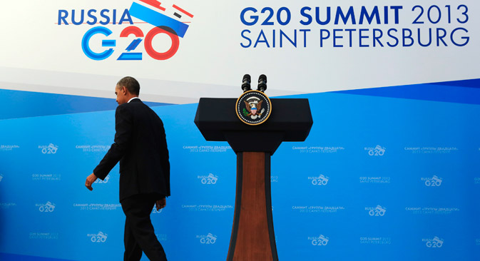 U.S. President Barack Obama departs a news conference at the G20 Summit, on September 6. Obama said that most leaders of the G20 countries agree that Syrian President Bashar al-Assad is responsible for using poison gas against civilians as the U.S. leader tried to rally support at home and abroad for a military strike. Source: Reuters. Source: Reuters