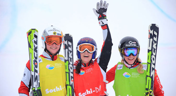Wave of pleasure: ski cross World Cup 2013 competitors enjoy the Sochi vibe ahead of the Games. Source: Press photo