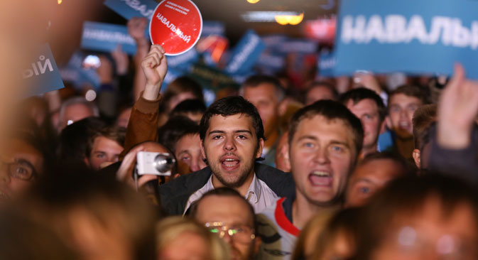 Navalny supporters rally in Moscow, on September 9. Source: ITAR-TASS