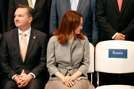 Elvira Nabiullina (center) believes that the economic growth should be based on labor productivity and diversity. Source: Reuters