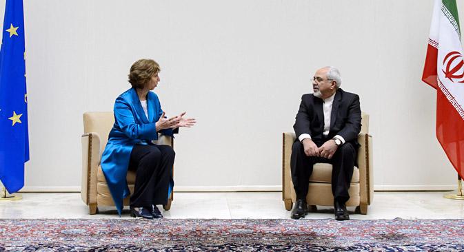 Catherine Ashton (L) and Mohammed Javad Zarif in Geneva. Source: AP