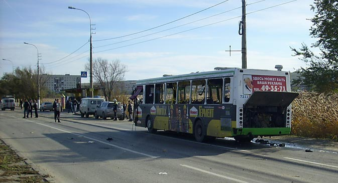 The explosion occurred on a bus in the Volgograd Krasnoarmeisky district. Source: RIA Novosti
