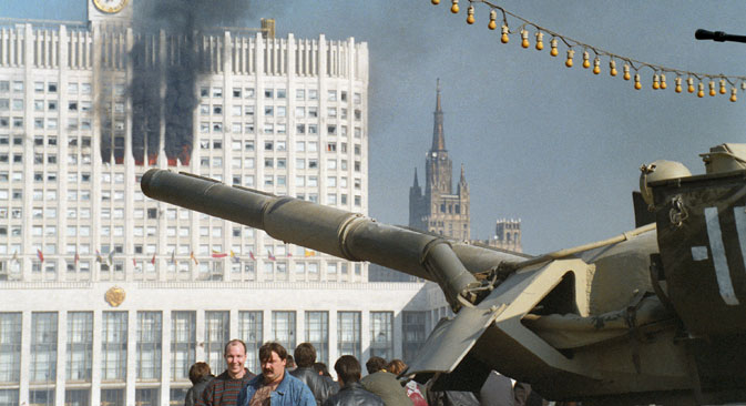 The conflict between President Boris Yeltsin and the State Duma ended with the shelling of the Russian White House. Source: ITAR-TASS
