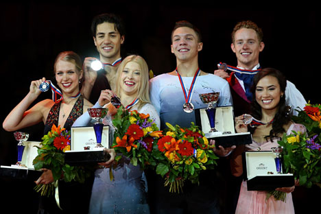 Awarding ceremony of Cup of Russia Grand Prix. Pictured L-R: Canadian Kaitlyn Weaver and Andrew Poje, Russians Ekaterina Bobrova and Dmitry Soloviev and Americans Madison Chock and Evan Bates. Source: ITAR-TASS