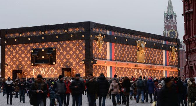 Criticism of the Louis Vuitton suitcase's location and the display's timing has heightened as construction nears completion. Source: RIA Novosti / Maxim Blinov