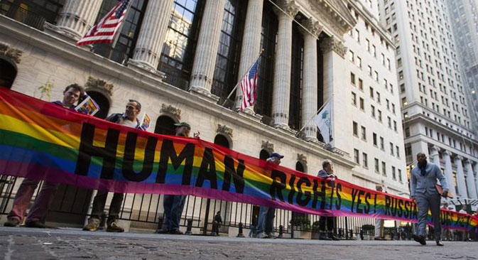 LGBT activists protested Russia Day at the New York Stock Exchange. Source: Reuters