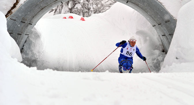 Paralympic athlete Irina Polyakova took third place in the 2.5 km race among those with lesions of the musculoskeletal system LW 10-12 category in the Russian championship of cross-country skiing. Source: Vladimir Pesnya / RIA Novosti