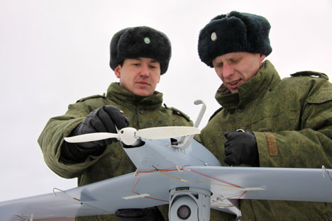 Students are training to deal with unmanned aerical vehicle (BPLA) in Moscow Region. Source: Viktor Litovkin