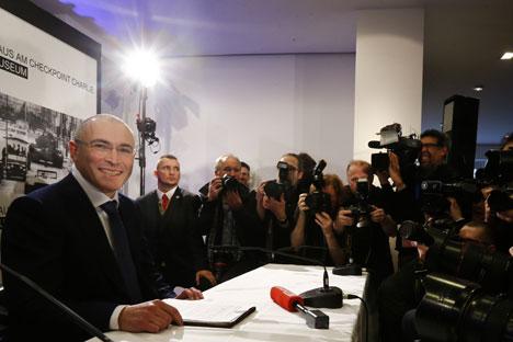 Michail Chodorkowski während der Pressekonferenz in Berlin am 22. Dezember 2013. Foto: Reuters