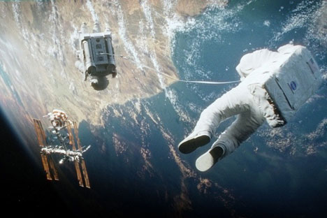 "Anatoly Solovyov: 'The makers of ""Gravity"" managed to show what Earth looks like from the orbit. Pictured: A screenshot from Gravity movie. Source: kinopoisk.ru"