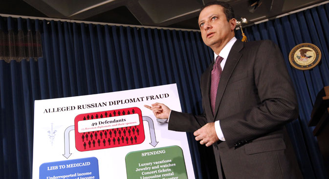 U.S. Attorney Preet Bharara announces charges against more than a dozen Russian diplomats and their spouses living in New York during a news conference on Dec. 5 in New York. Source: AP