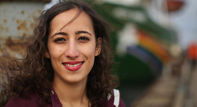 "Faiza Oulahsen: ""I will continue to campaign to save the Arctic, that's not going to change."" Source: AP"