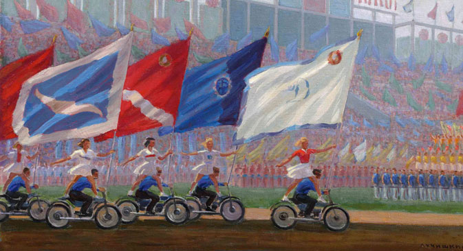 Sergey Luchishkin 'Parade at the Dynamo Stadium' (1936-1976), oil on canvas. Source: Courtesy of Sotheby's