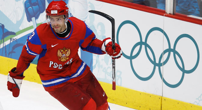 Pavel Datsyuk of Russia celebrates his goal against the Czech Republic during their hockey game at the Vancouver 2010 Winter Olympics. Source: Reuters