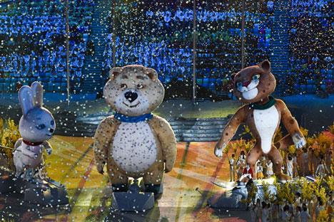 Segundo organizadore, festa de encerramento seguiu o espírito vitorioso dos atletas russos Foto: Aleksandr Vilf / RIA Nóvosti